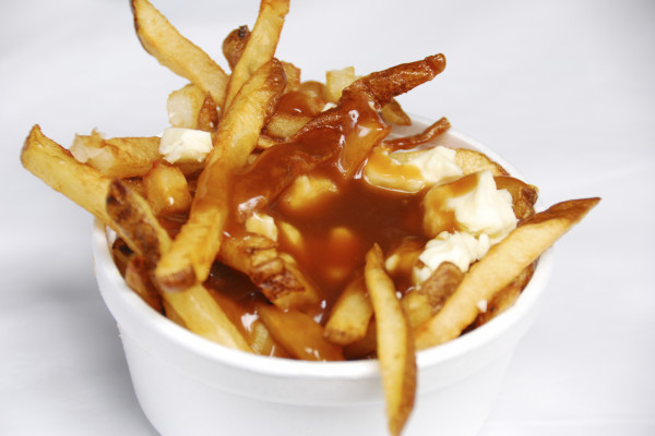 French fries smothered in gravy and cheese curds